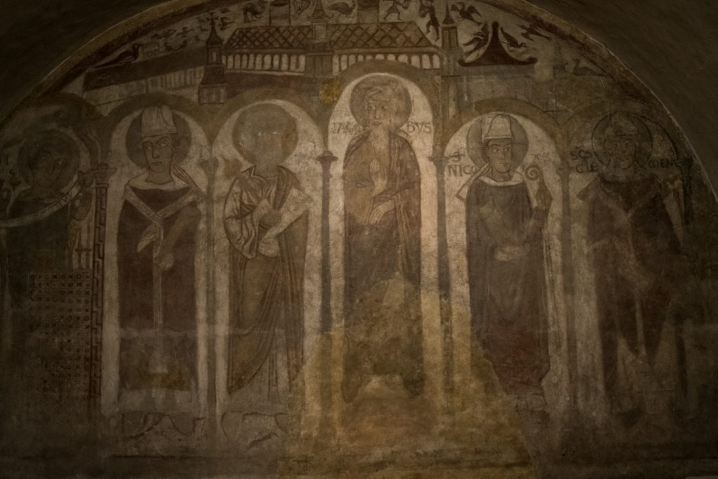 Medieval fresco. One of the figures is Charlemagne (on the left), and you can also identify Saint Peter