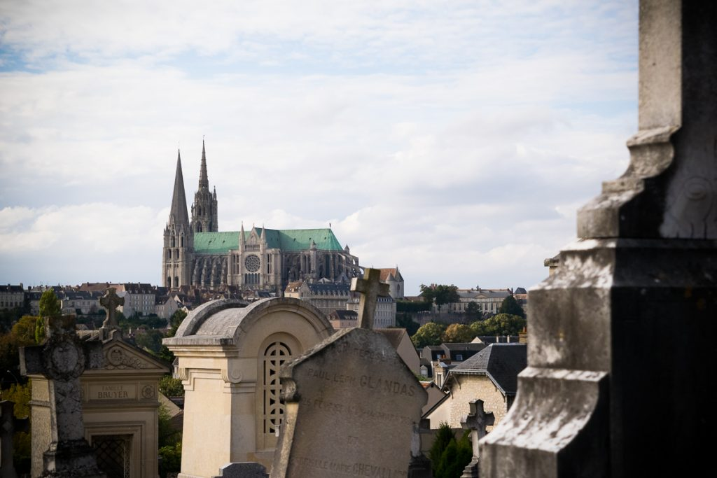View of Chartres Cathedral from the hill