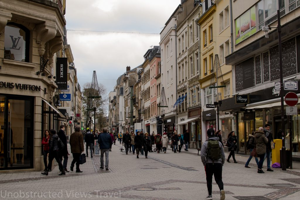 La Grande-Rue, the main shopping street in Luxembourg, and the heart of the city center