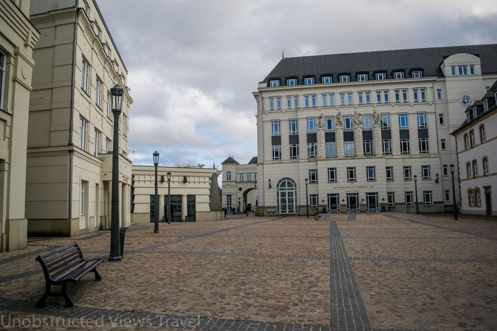 The courtyard where the elevators are located (in the small building in the middle towards the left)