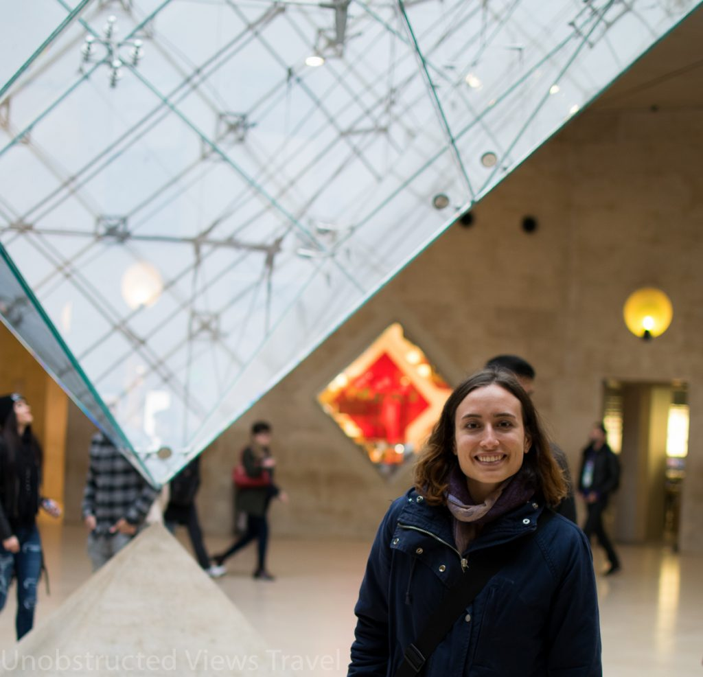 By the inverted pyramid and the Carrousel entrance to the museum