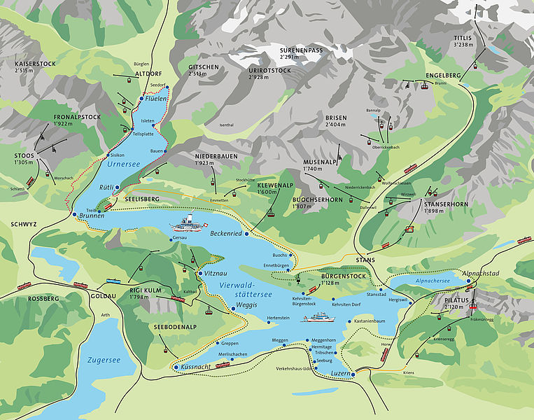 Map of Lake Lucerne and ferry stops